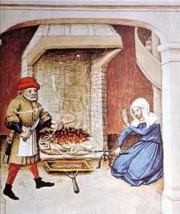 Decameron 1432-cooking on spit. Public Domain.