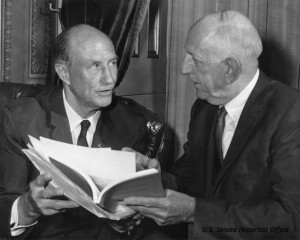 Senators Strom Thumond of South Carolina and Richard Russell of Georgia opposed the Civil Rights Act of 1964. credit: U.S. Senate Historical Office