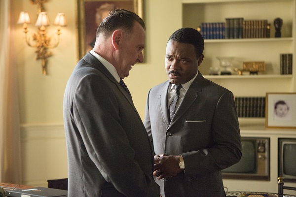 Left to right: Tom Wilkinson plays President Lyndon B. Johnson and David Oyelowo plays Dr. Martin Luther King, Jr. in SELMA, from Paramount Pictures, Pathé, and Harpo Films.