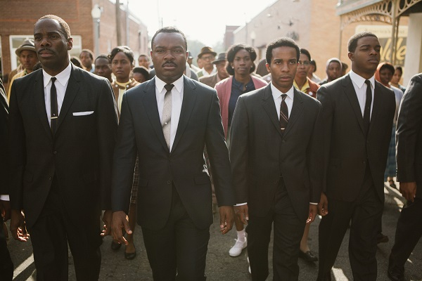 Left to right, foreground: Colman Domingo plays Ralph Abernathy, David Oyelowo plays Dr. Martin Luther King, Jr., André Holland plays Andrew Young, and Stephan James plays John Lewis in SELMA, from Paramount Pictures, Pathé, and Harpo Films. SEL-02293