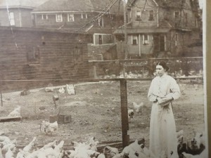 Woman feeding chickens at the Indian Women's Prison.
