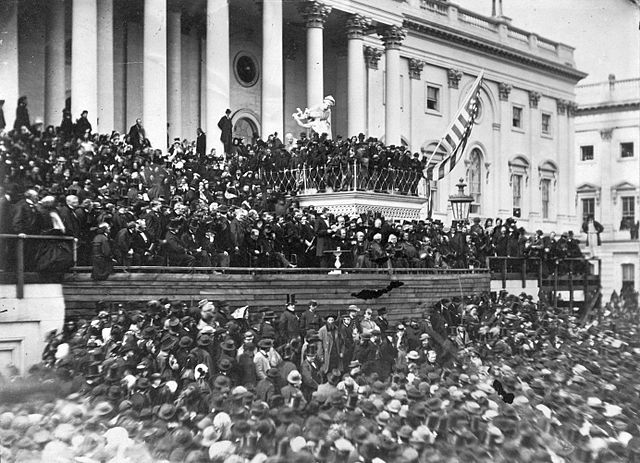 Abraham Lincoln delivering his Second Inaugural Address, March 4, 1865. Library of Congress, Prints and Photographs Division.