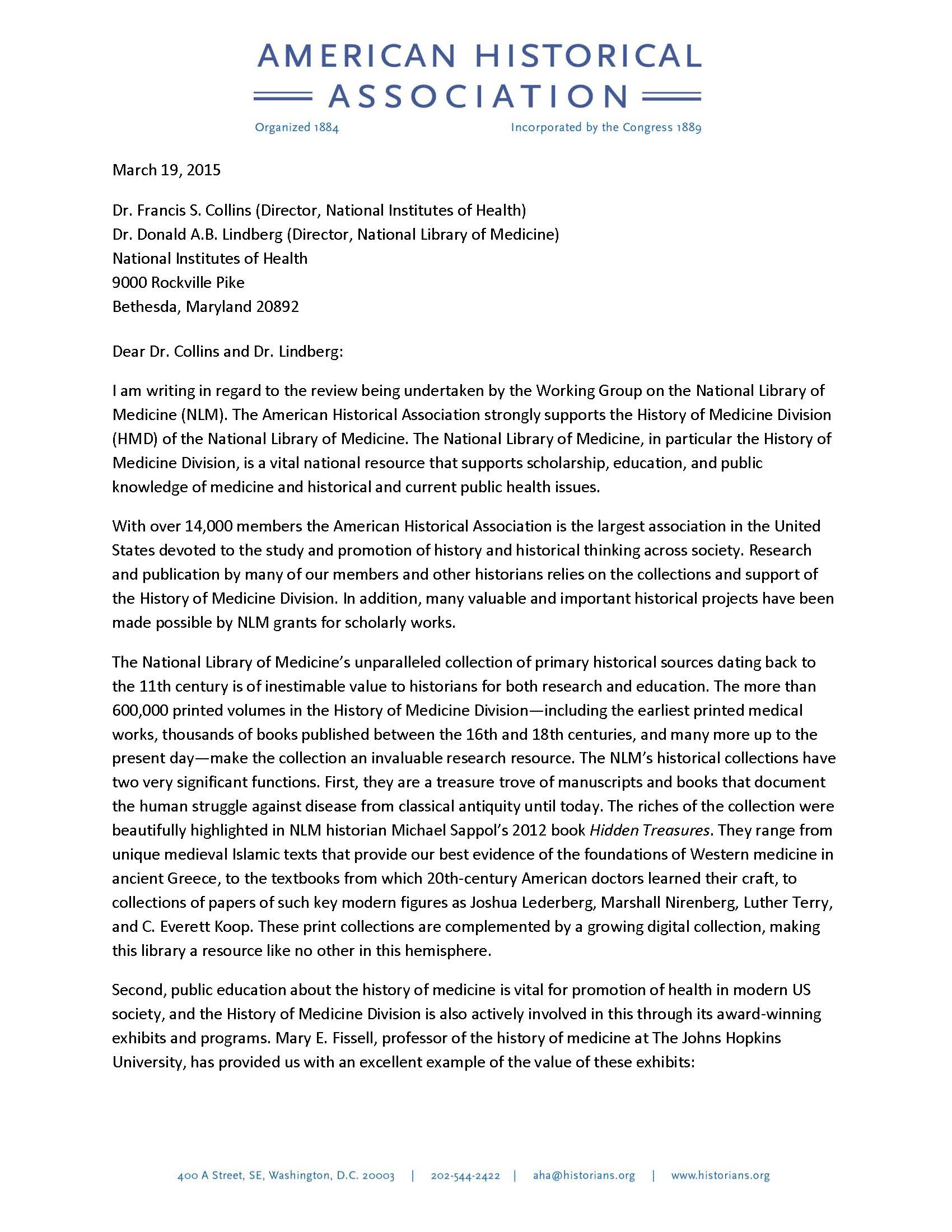 AHA Issues Letter of Support for the History of Medicine