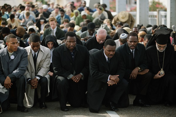 Left to right, foreground: Trai Byers plays James Foreman, Stephan James plays John Lewis, Wendell Pierce plays Rev. Hosea Williams, David Oyelowo plays Dr. Martin Luther King, Jr., and Colman Domingo plays Ralph Abernathy in SELMA, from Paramount Pictures, Pathé, and Harpo Films.