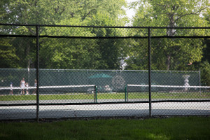 Tennis courts at the Richmond County Country Club, preserved by conservation easement, which paid the country club $3 million for its property, sheltered it from real estate taxes, and allowed it to manage the land for 99 years. In exchange, the country club has to maintain the property as an open space, although not necessarily one that is open to the public (Aaron Kreiswirth, 2015).
