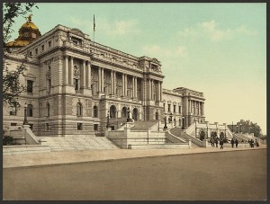 The West façade of the Library of Congress in 1898.