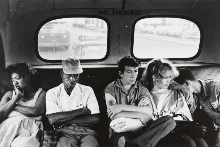 Bruce Davidson photographed members of the Jokers gang on their way back from Coney Island. The Phillips Collection, Washington, DC.