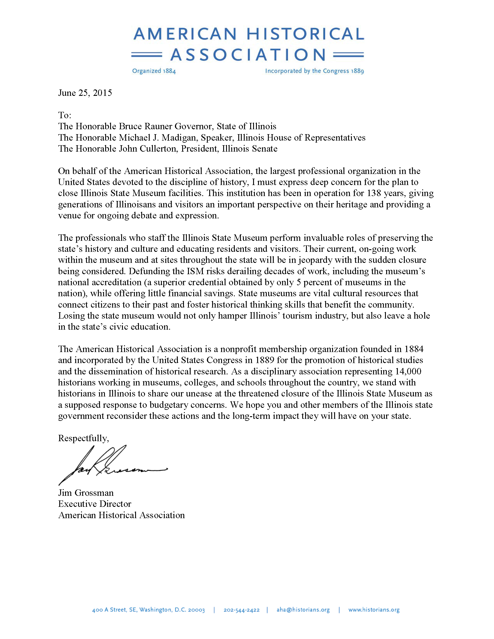 Letter Of Concern Regarding The Possible Closure Illinois