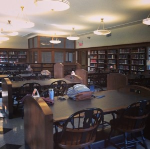 Figure 2: Though empty reading rooms are a rare occurrence in Columbia's Butler Library, they are a good reminder not to become a hermit while reading for exams. (Photo by author)