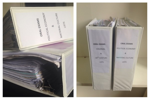 Figure 3: These two binders, filled with notes, articles, and book reviews were extremely helpful during review (and took up much less space than shelves of books!) (Photo by author)