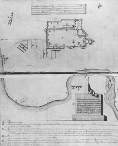 Plan of the Alamo, drawn by José Juan Sánchez-Navarro in 1836. José Sánchez-Navarro Papers, The Center for American History, The University of Texas at Austin; CN 01579a.