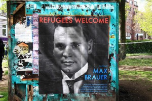 "In Hamburg, a ""refugees welcome"" poster invokes historical memory: Max Brauer was a Social Democrat who was forced to flee Nazi Germanyi, he returned in 1946 and was elected the first mayor of Hamburg. By Rasande Tyskar on Flickr. CC BY-NC 2.0"