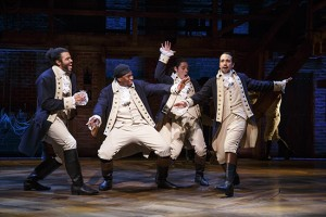 Daveed Diggs as Marquis de Lafayette, Okieriete Onaodowan as Hercules Mulligan, Anthony Ramos as John Laurens and Lin-Manuel Miranda as Alexander Hamilton in Hamilton. Credit: Production Photo by Joan Marcus.