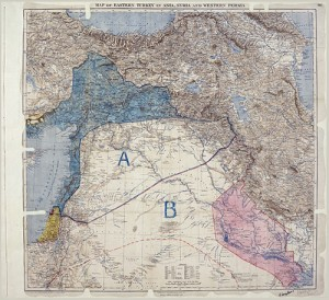Map of Sykes–Picot Agreement showing Eastern Turkey in Asia. Credit: The National Archives (United Kingdom).