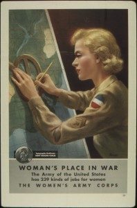 During World War II and the Cold War, military publications emphasized servicewomen in gender-appropriate jobs and attire, seemingly far away from combat. Wikimedia Commons.