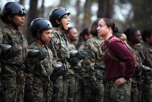 : In the Cold War, women Marines' uniforms included lipstick in a shade matching the brim of their hat. Today, makeup is no longer part of Marines' official training protocol. U.S. Marine Corps photo by Cpl. Rodion Zabolotniy. United States government work.