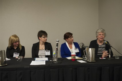 Panelists at the AHA GECC open forum. GECC invited graduate students and early career professionals to discuss the AHA's Career Diversity for Historians initiative and related issues at the 2016 AHA annual meeting.