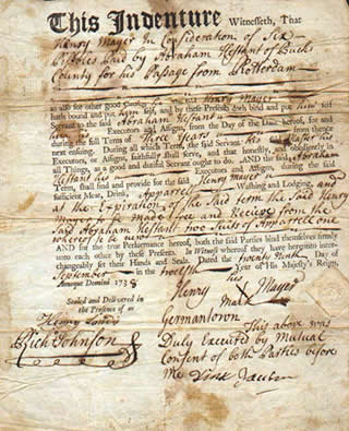 18th-century indenture contract, Wikimedia Commons
