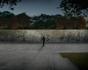 The bronze bas relief wall will feature figurative renderings of soldiers. World War I Centennial Commission, ww1cc.org/selectee.