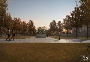 The design concept includes a raised lawn with a central sculpture. World War I Centennial Commission, ww1cc.org/selectee.