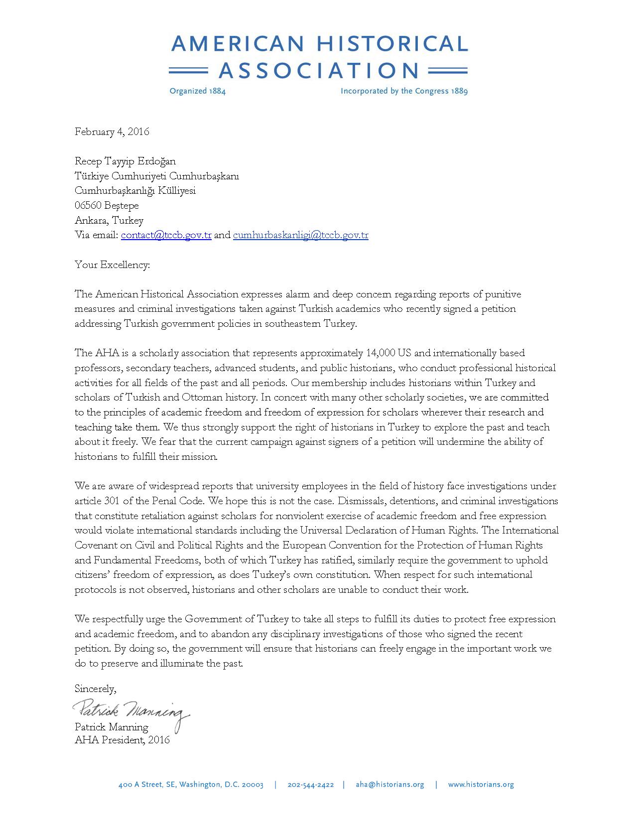 Letter of Concern Regarding Reports of Punitive Measures ...
