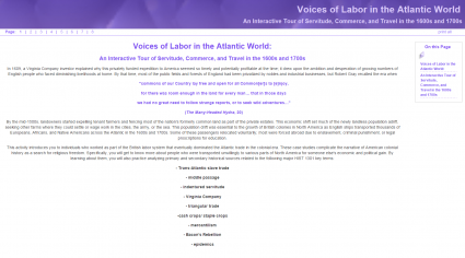 "Screenshot of Kimberly Hill's e-learning site: ""Voices of Labor in the Atlantic World."""