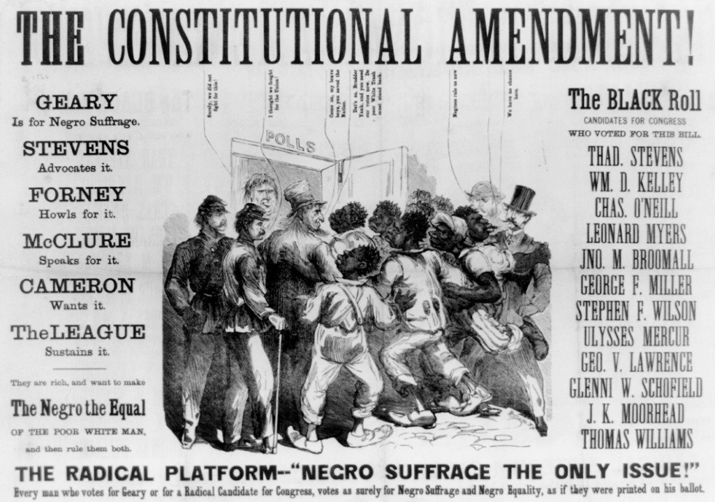 The Constitutional Amendment! A racist poster issued in 1866 by supporters of Democratic candidate Hiester Clymer as part of a smear campaign against Pennsylvania Republican gubernatorial nominee John White Geary. Credit: Library of Congress