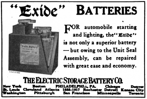 Exide Advert (Horseless Age via Wikipedia)