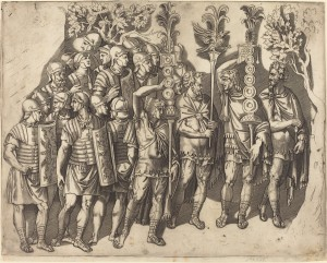 Marco Dente (Italian, c. 1493 - 1527 ), A Roman Legion, 1515/1527, engraving on laid paper, Ailsa Mellon Bruce Fund 2009.118.1