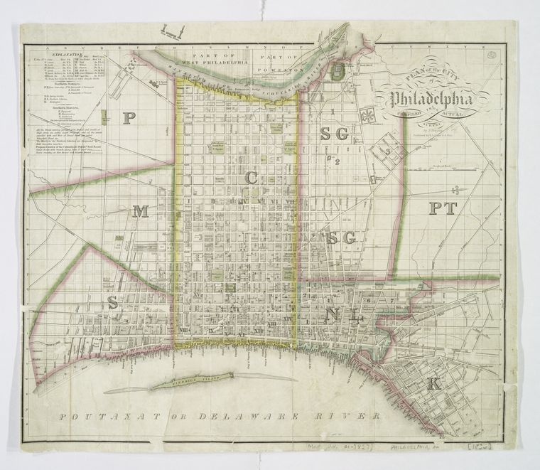 """Plan of the city of Philadelphia"" by Joseph Drayton. Lionel Pincus and Princess Firyal Map Division, The New York Public Library."