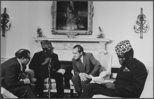 President Nixon meets with President Mobutu Seko of Zaire (now known as the Democratic Republic of Congo) in the Oval Office in October 1973. Source: Wikimedia Commons