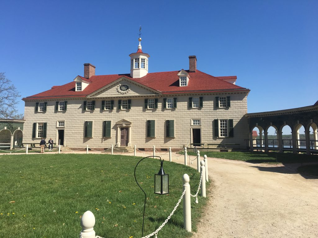 George Washington's Mount Vernon mansion; the estate is interpreted to portray life in 1799, the year prior to George Washington's death. Erin Holmes