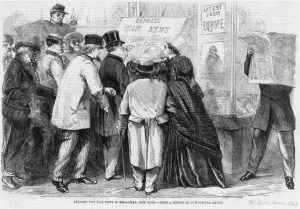 This 1861 Illustrated London News engraving of New Yorkers scrambling for information about the Civil War demonstrates the powerful intersections between media and society that journalism historians highlight in their research. Library of Congress