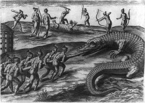 Jacques Le Moyne's depiction of the Timucua encountering alligators in Florida. Engraving by Theodore DeBry. Library of Congress.