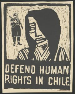 "This 1975 poster designed by Rachael Romero and Wilfred Owen Brigade calls to ""defend human rights in Chile."" Library of Congress"