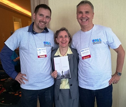 Pavel Mücke and Miroslav Vanek celebrate the publication of their book Velvet Revolutions: An Oral History of Czech Society with their OUP editor, Nancy Toff, at the Oral History Association conference in 2016.