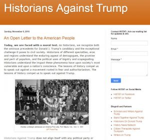 Historians Against Trump inspired a controversy over whether historians should publicly offer political opinions.
