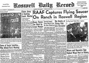 Roswell Daily Record reports on the UFO incident in Roswell, New Mexico. July 9, 1947. Wikimedia Commons