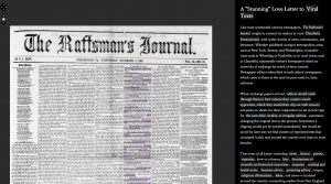 """Love Letter"" is an interactive exhibit of the front page of the November 4, 1868, edition of the Raftsman Journal on Viral Texts."