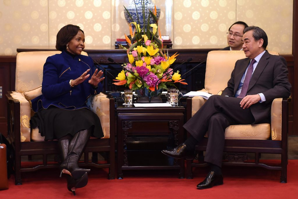 Chinese Foreign Minister Wang Yi meets with Minister of International Relations Maite Nkoana-Mashabane at a South Africa-China bilateral meeting in February 2017. GovernmentZA via Flickr/CC BY-ND 2.0
