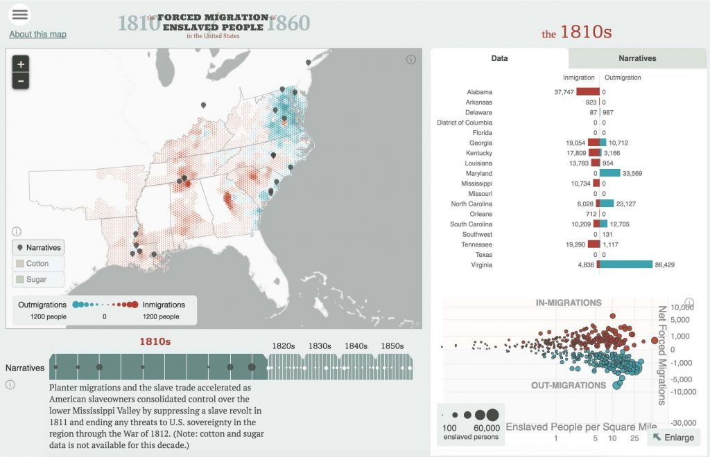 American Panorama is an interactive digital atlas with six different visualizations with subjects spanning American history from the 19th to the 21st centuries.