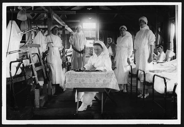 Nurses prepare for duty in a British Hospital at the Western Front in France Credit: National Library of Scotland via Flickr