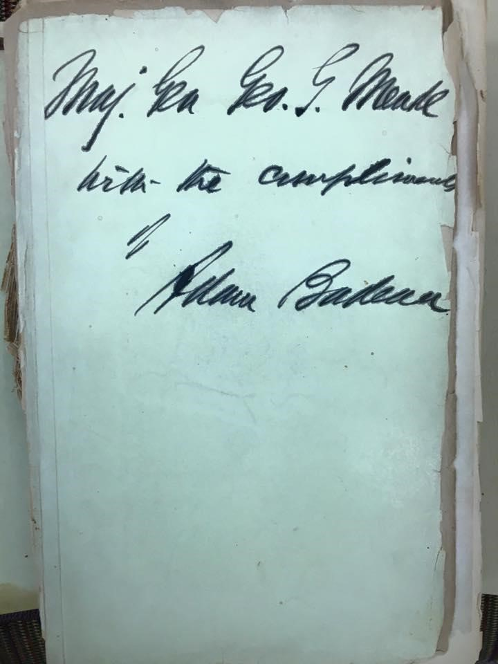 Inscription to Major General George G. Meade found in Ulysses S. Grant's book on military history.