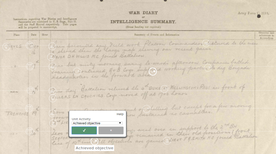 A screen capture of a tagged diary page from the 10th Infantry Brigade, 1st Battalion Royal Warwickshire Regiment, October 20, 1918. White markers indicate the recorded locations, dates, names, weather conditions, and troop activities. An open tag box shows where a student would note that this unit achieved its set objectives. (Source: Operation War Diary)