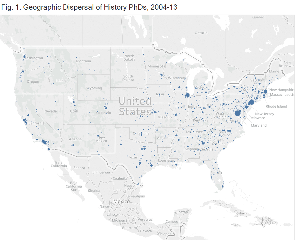 Fig. 1. Geographic Dispersal of History PhDs, 2004-13