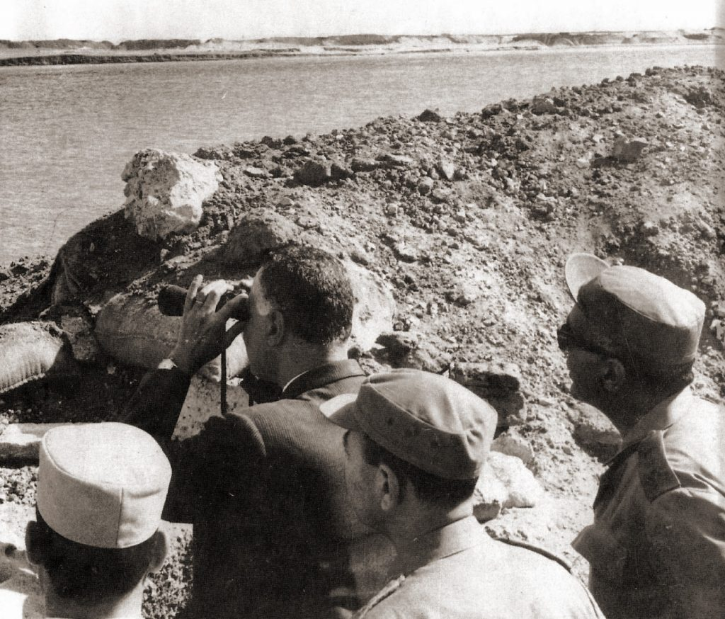 President Gamal Abdel Nasser of Egypt surveys positions at the Suez Canal in 1968 during the War or Attrition. The Soviet Union provided support to Egyptian forces during this war. Wikimedia Commons