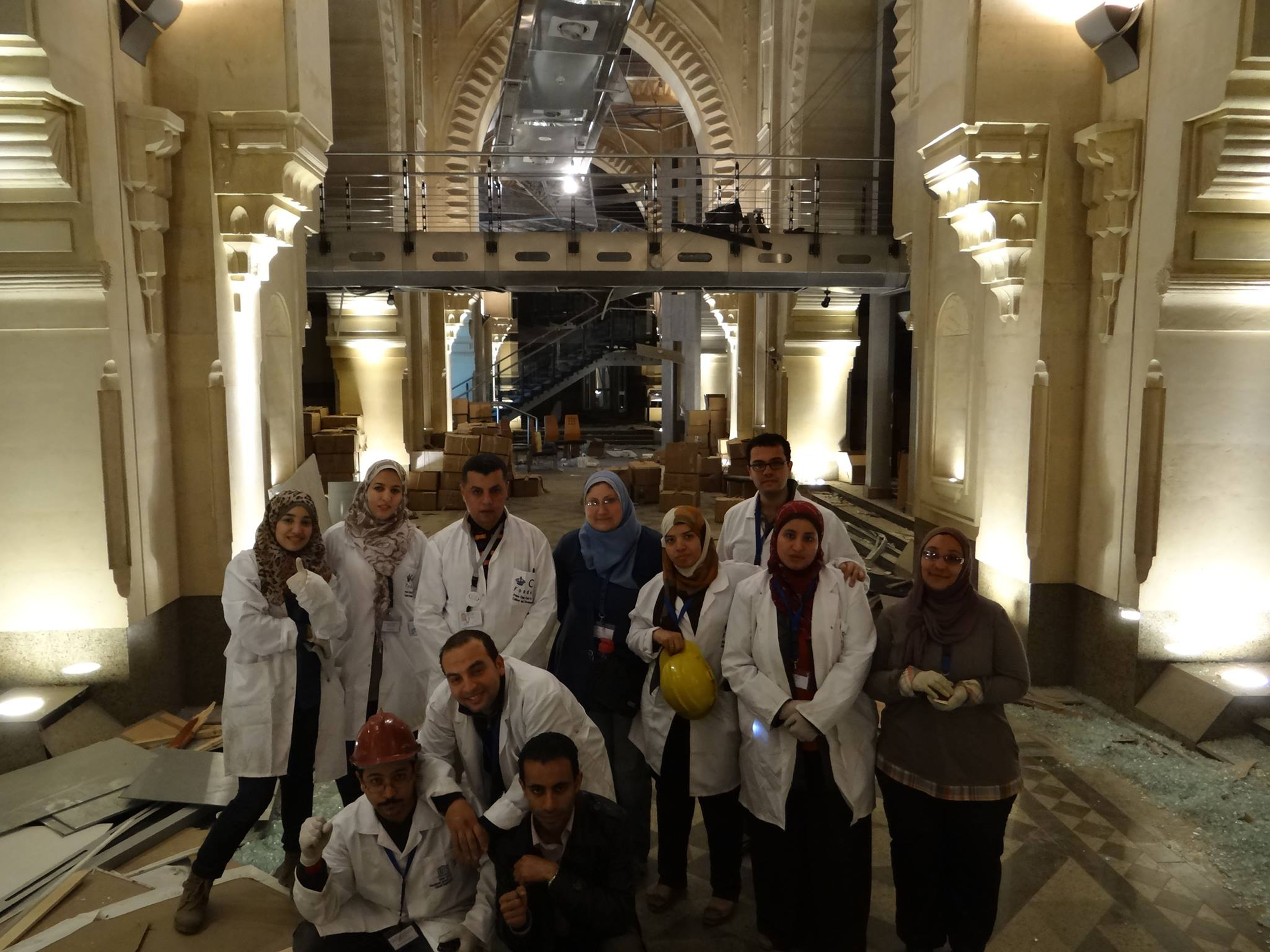 The team of volunteers who prepared artifacts to be moved after a bomb exploded outside the Museum of Islamic Art in Cairo. Photo: The Egyptian Heritage Rescue Team