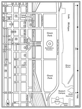 A map of the area between the hotels.