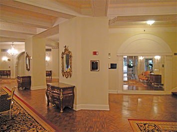 The old lobby at the Washington Marriott Wardman Park Hotel, with a Here is Where marker on a moment in the life of Langston Hughes.               Photo by Michael Pierce.