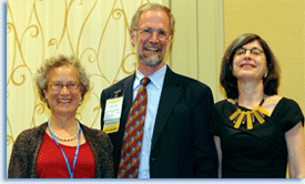 Gail Hershatter (left) and Ruth Mazo Karras (right) pose with William Cronon; Hershatter and Karras are both recipients of the 2012 Joan Kelly Memorial Prize in Women's History.